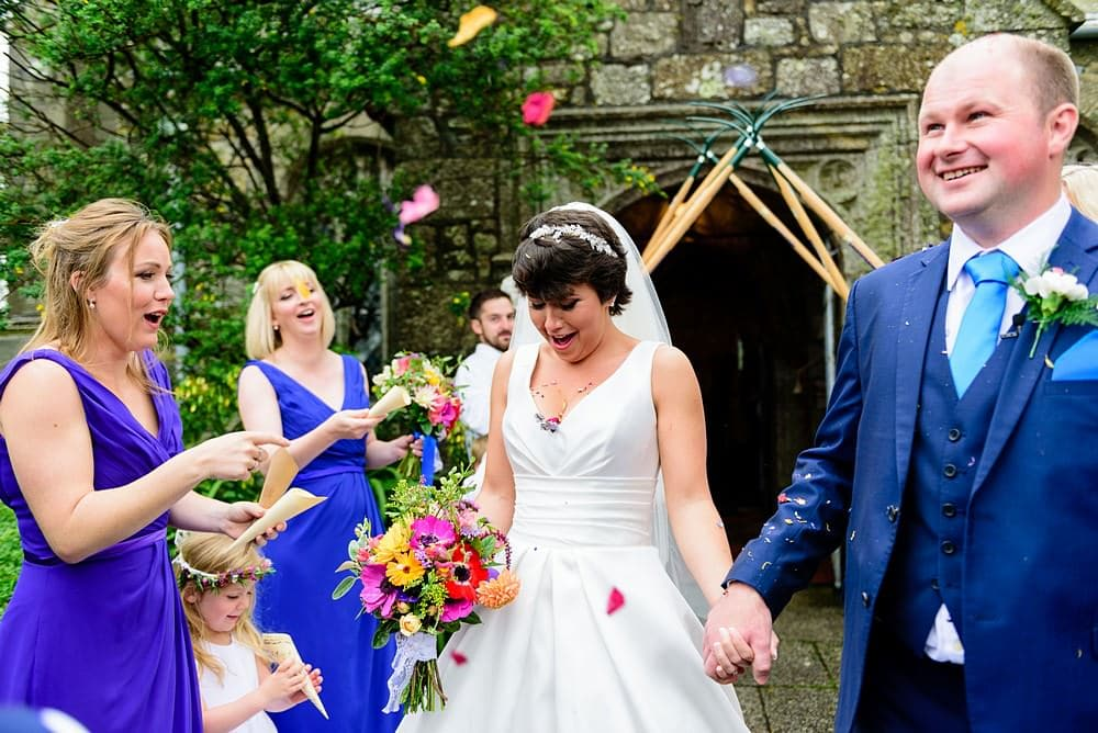 confetti in brides cleavage at Ludgvan church