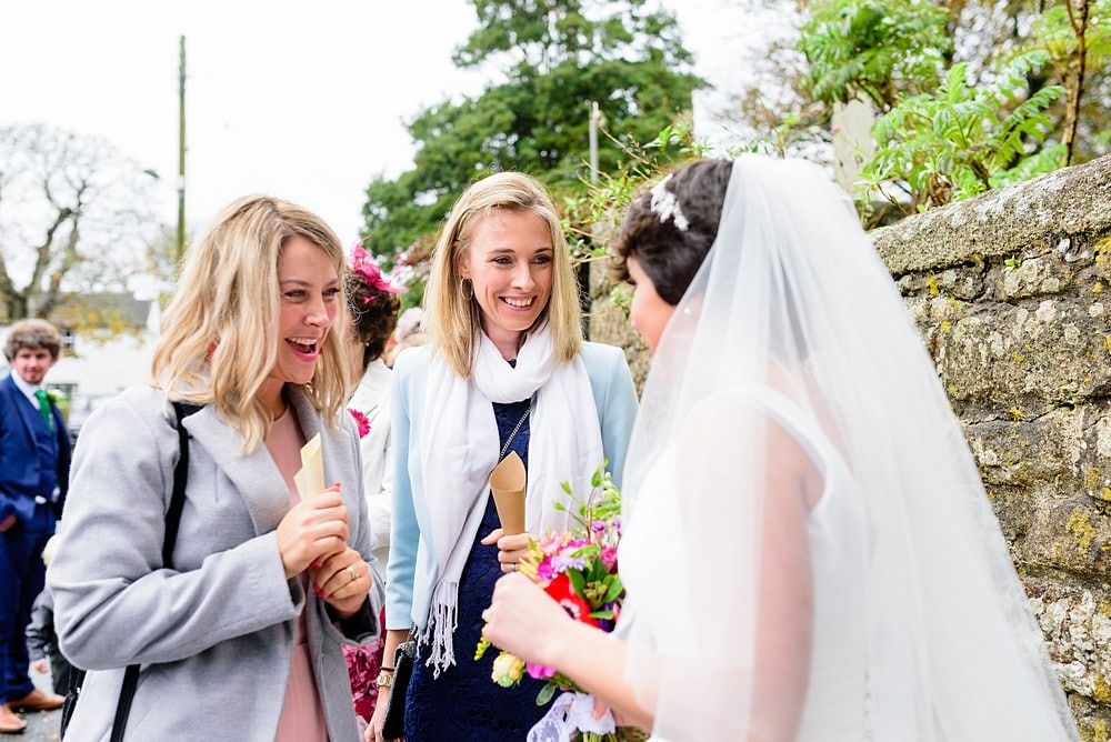 wedding guests at Ludgvan Church in Cornwall