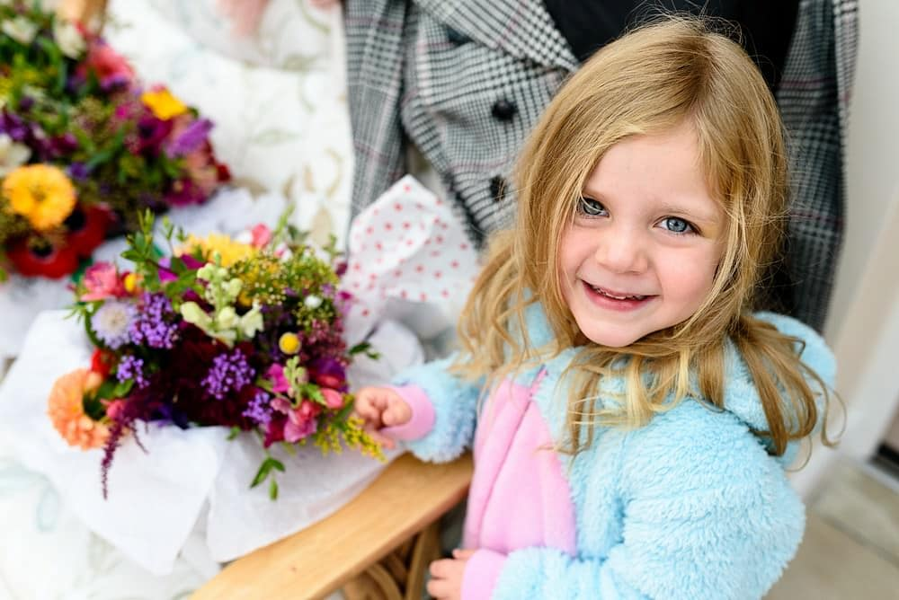 Cute flower girl at a St Ives Harbour Hotel Wedding