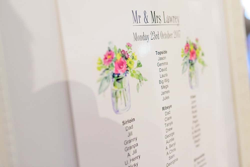 table plan at St Ives Harbour Hotel