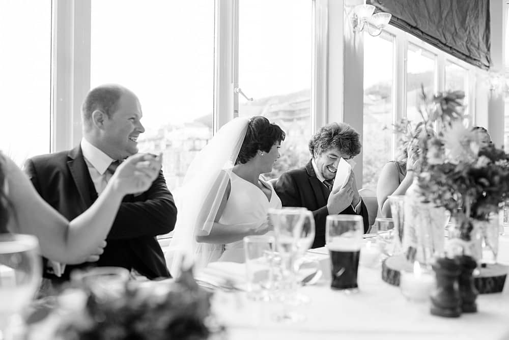 Best man crying at the St Ives Harbour Hotel
