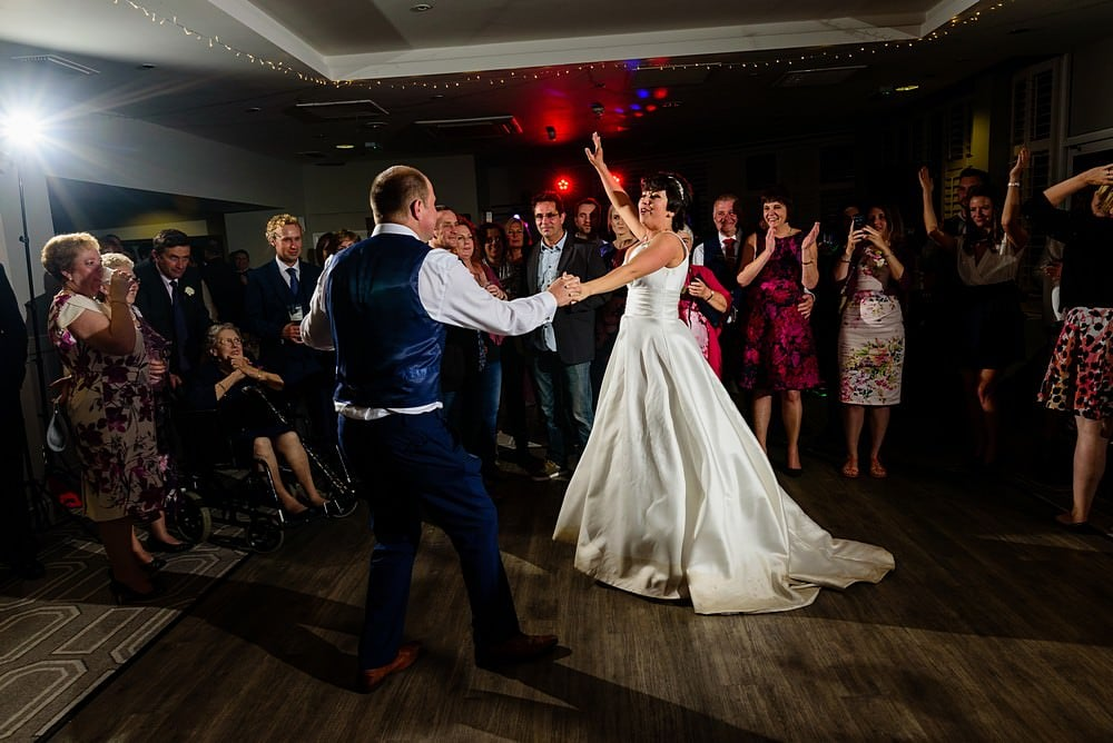 Bride dancing at the St Ives Harbour Hotel