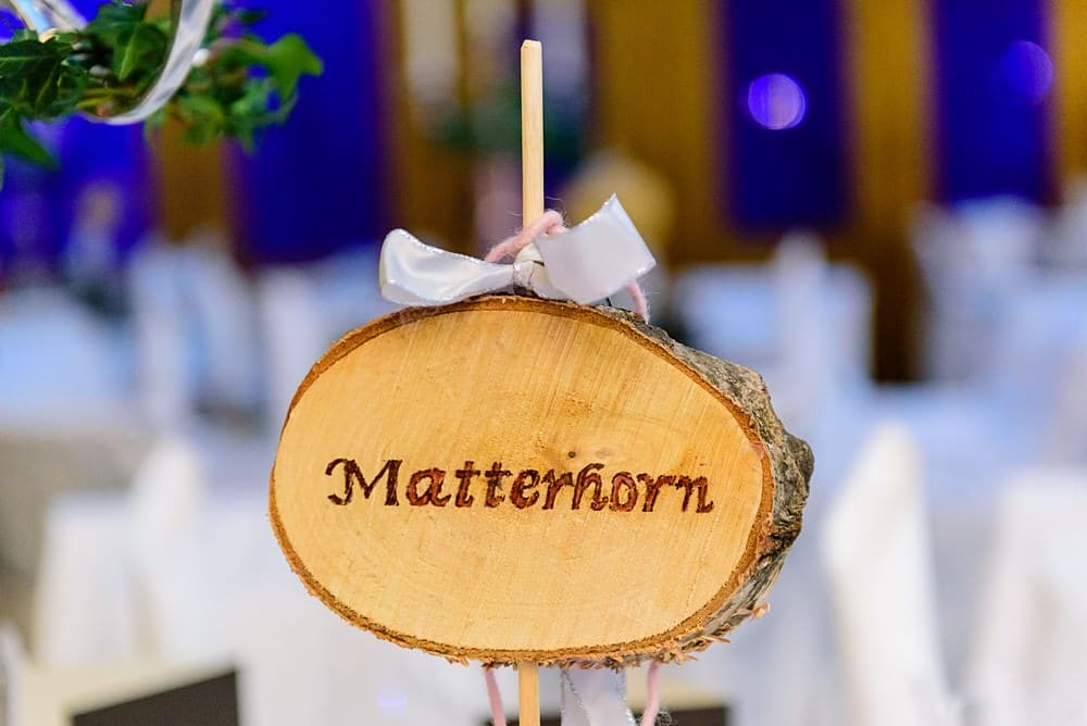 Matterhorn wedding table name at the Zermatterhof