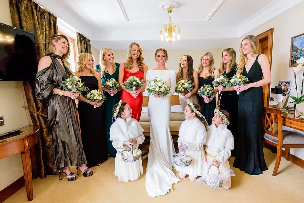 Bride with her girls at the zermatterhof hotel