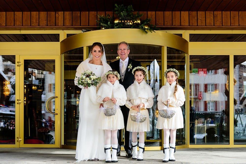 Bride with her flowergirls in Zermatt