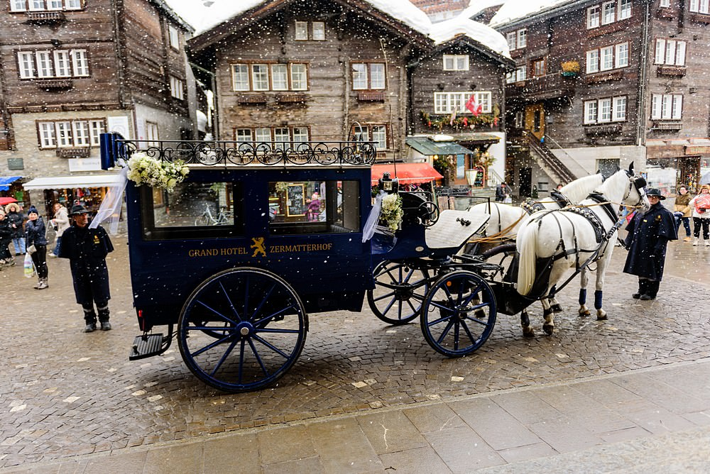 Horse and carriage ride to St.Mauritius Church in Zermatt