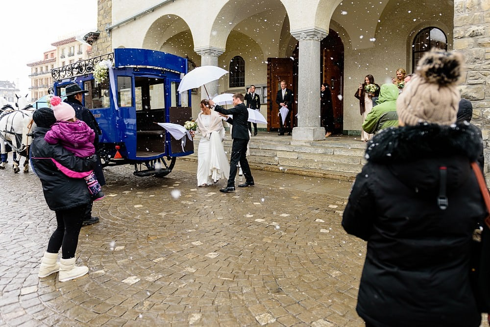 Heavy snow at a winter zermatt wedding