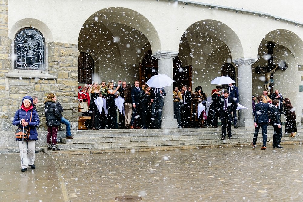 snowing at a wedding in Zermatt