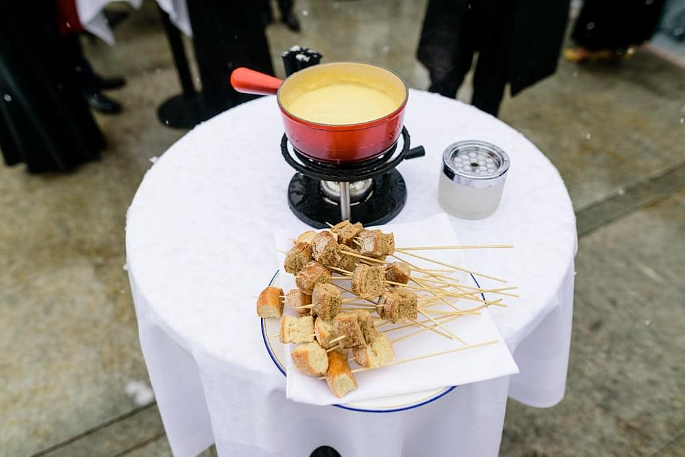 Cheese fondue at wedding at Grand Hotel Zermatterhof