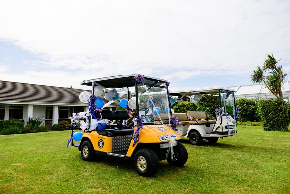wedding golf cart on the Isles of Scillys