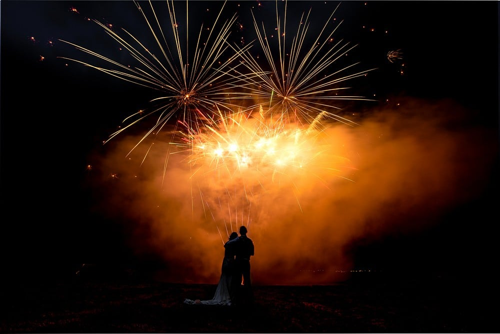 wedding fireworks in cornwall