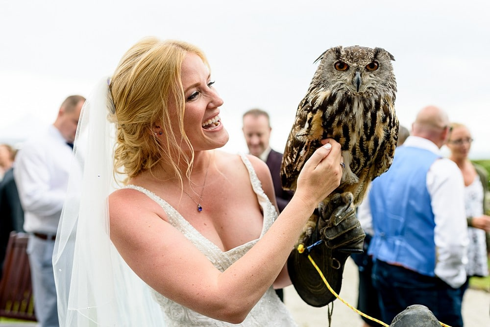 Bride with an owl at a cornwall wedding