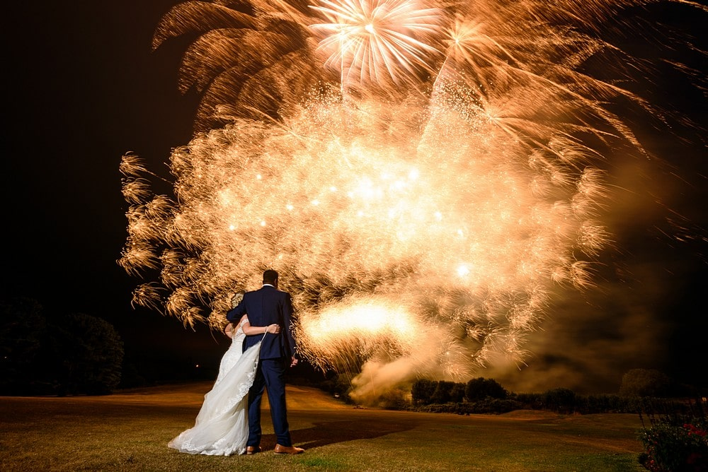 wedding fireworks at Carlyon Bay Hotel