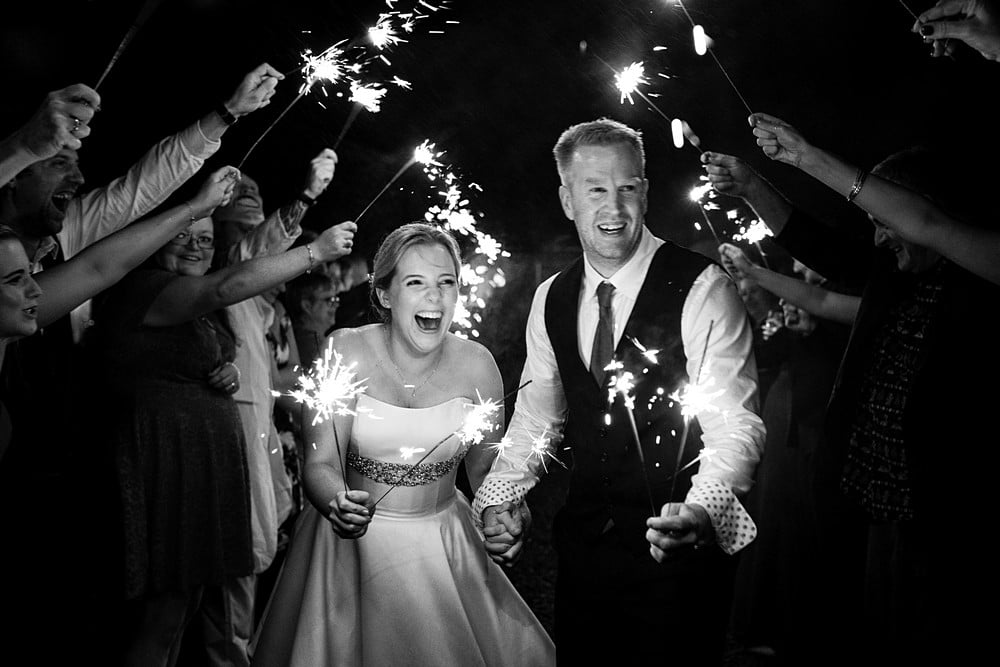 sparkler wedding photographer at Trevenna Barns
