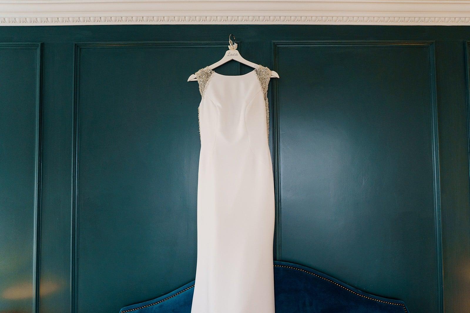 Wedding dress hung up at the Greenbank hotel