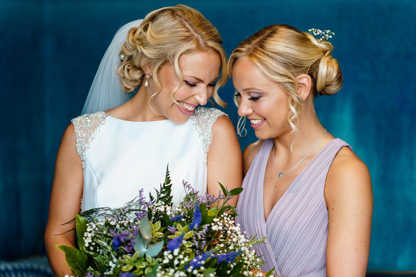 Bride and sister at a wedding at the Greenbank Hotel