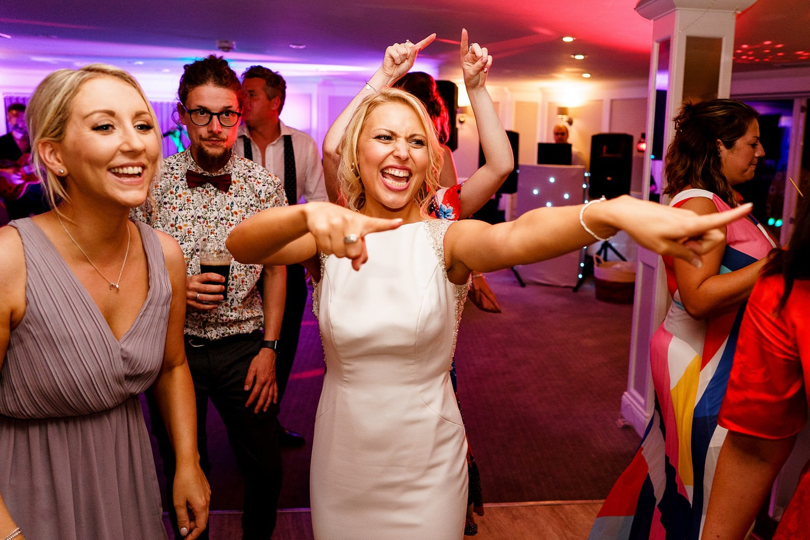 bride on the dance floor at her wedding at the greenbank hotel