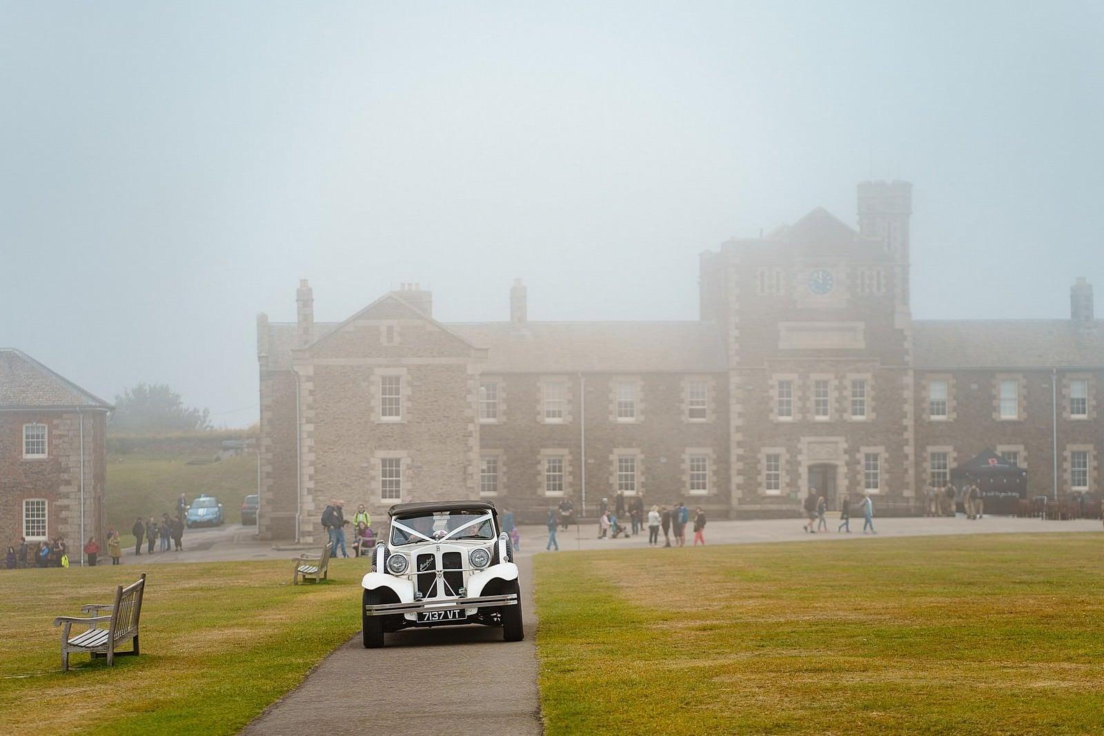 wedding car arriving at Pendennis Castle