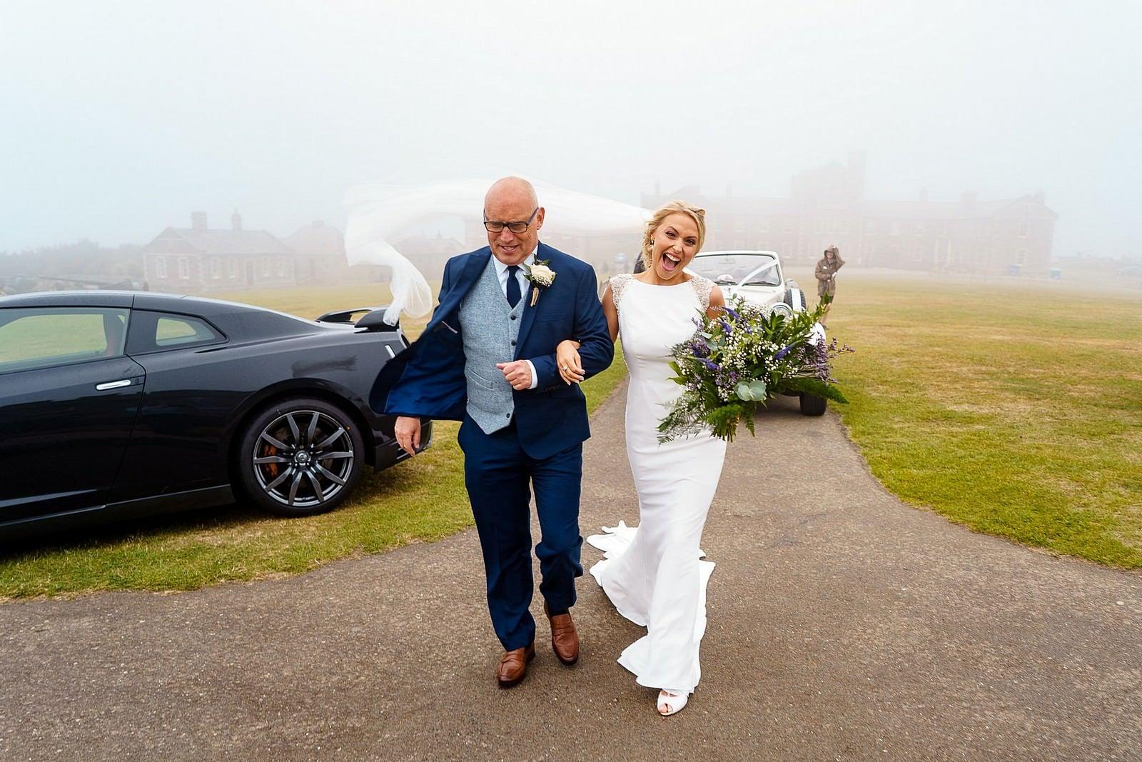 Bride arriving for her wedding at Pendennis Castle