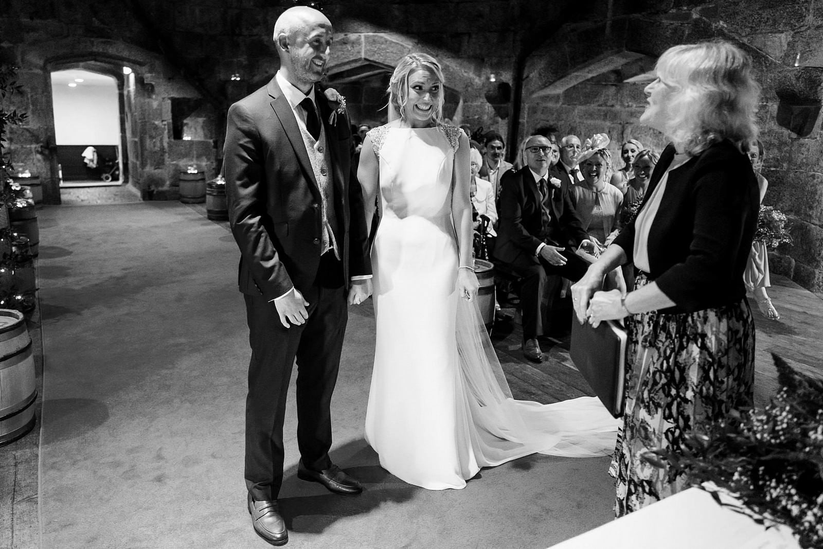 wedding ceremony at Pedennis Castle