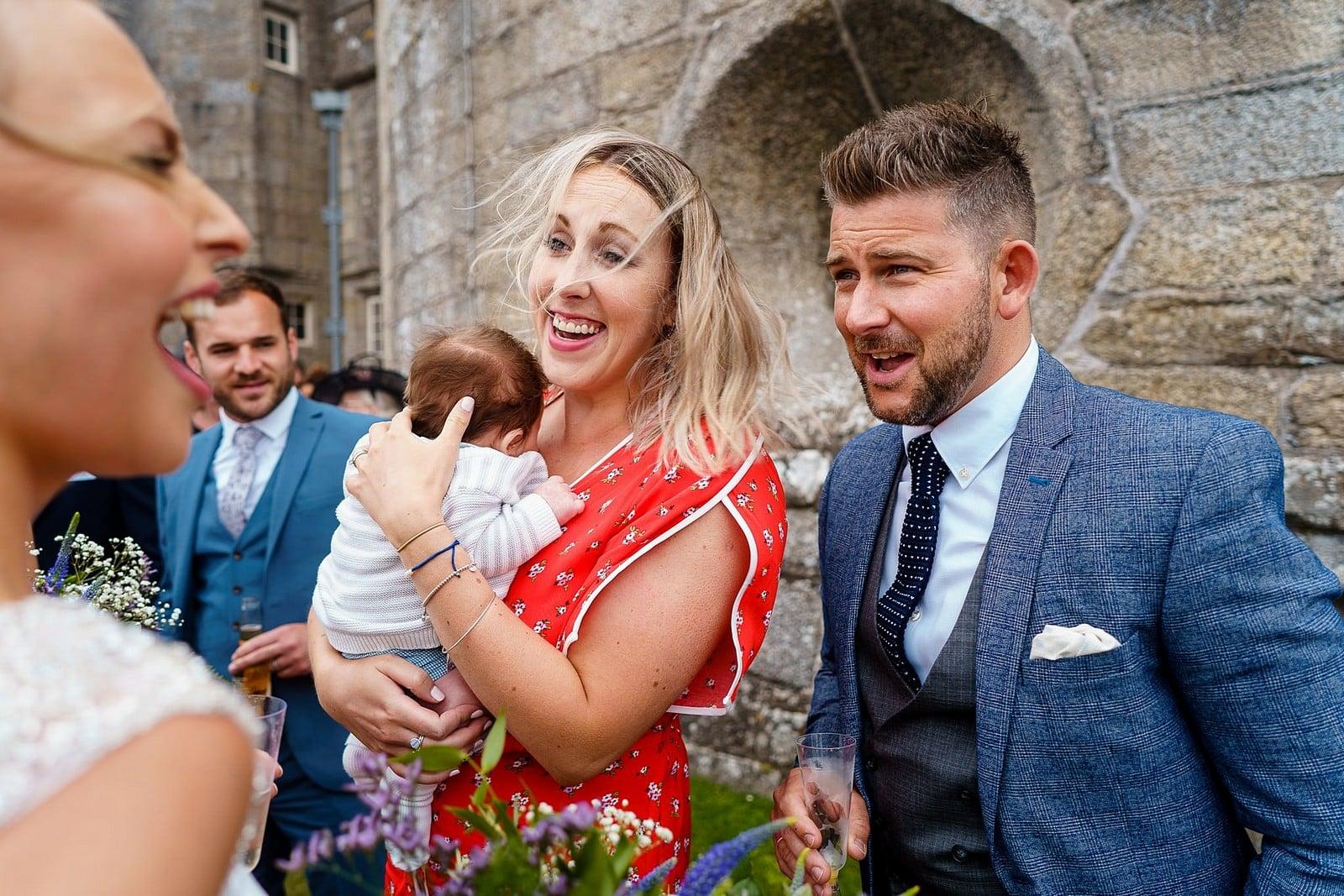 Happy wedding guests at a Pendennis Castle wedding