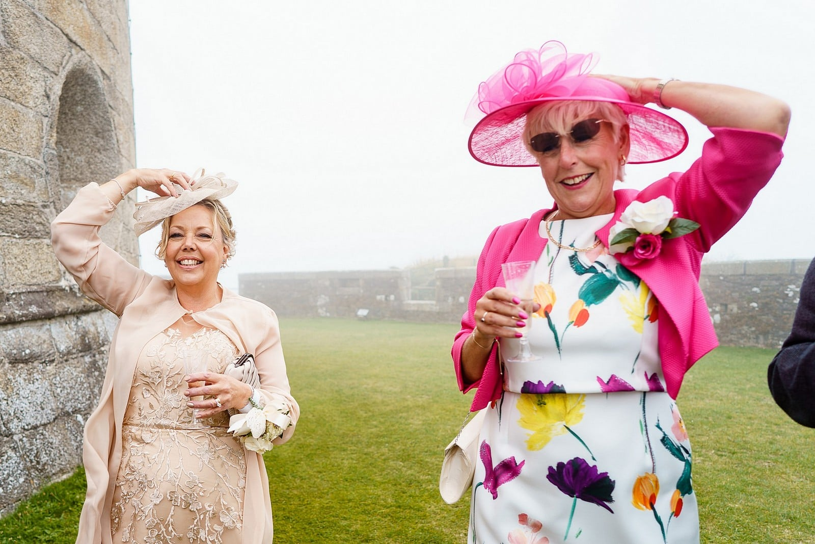 Mother of the brides at a Pendennis Castle wedding