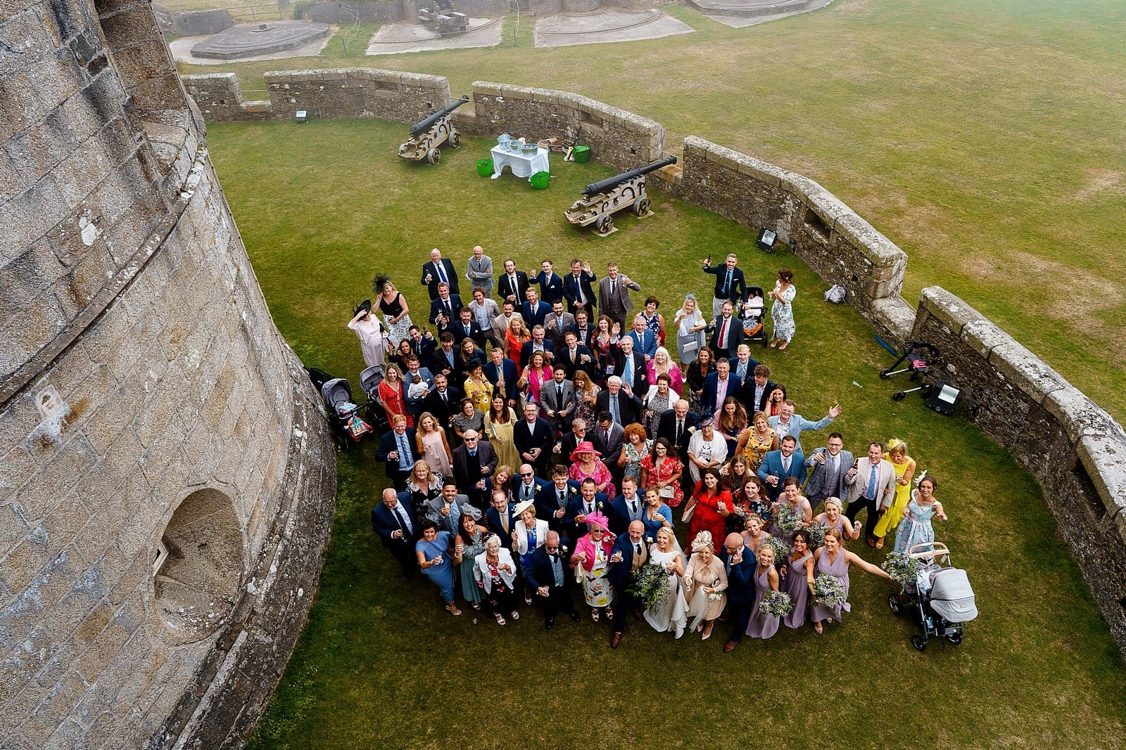 Wedding group photograph at Pendennis Castle