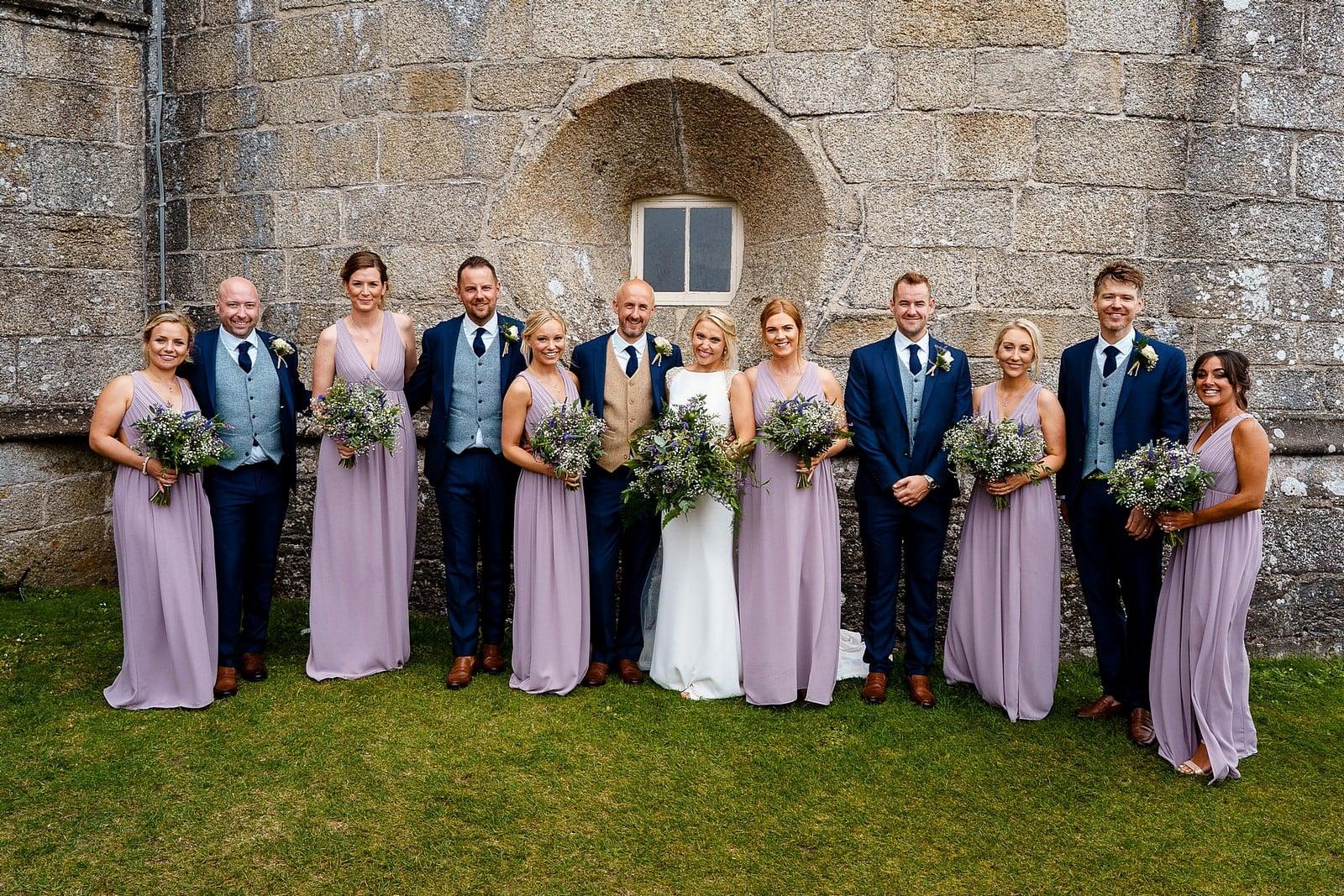 Bridal Party wedding photograph at Pendennis Castle