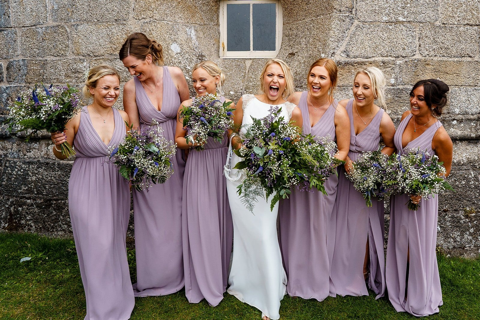 Bride and bridesmaids at Pendennis Castle
