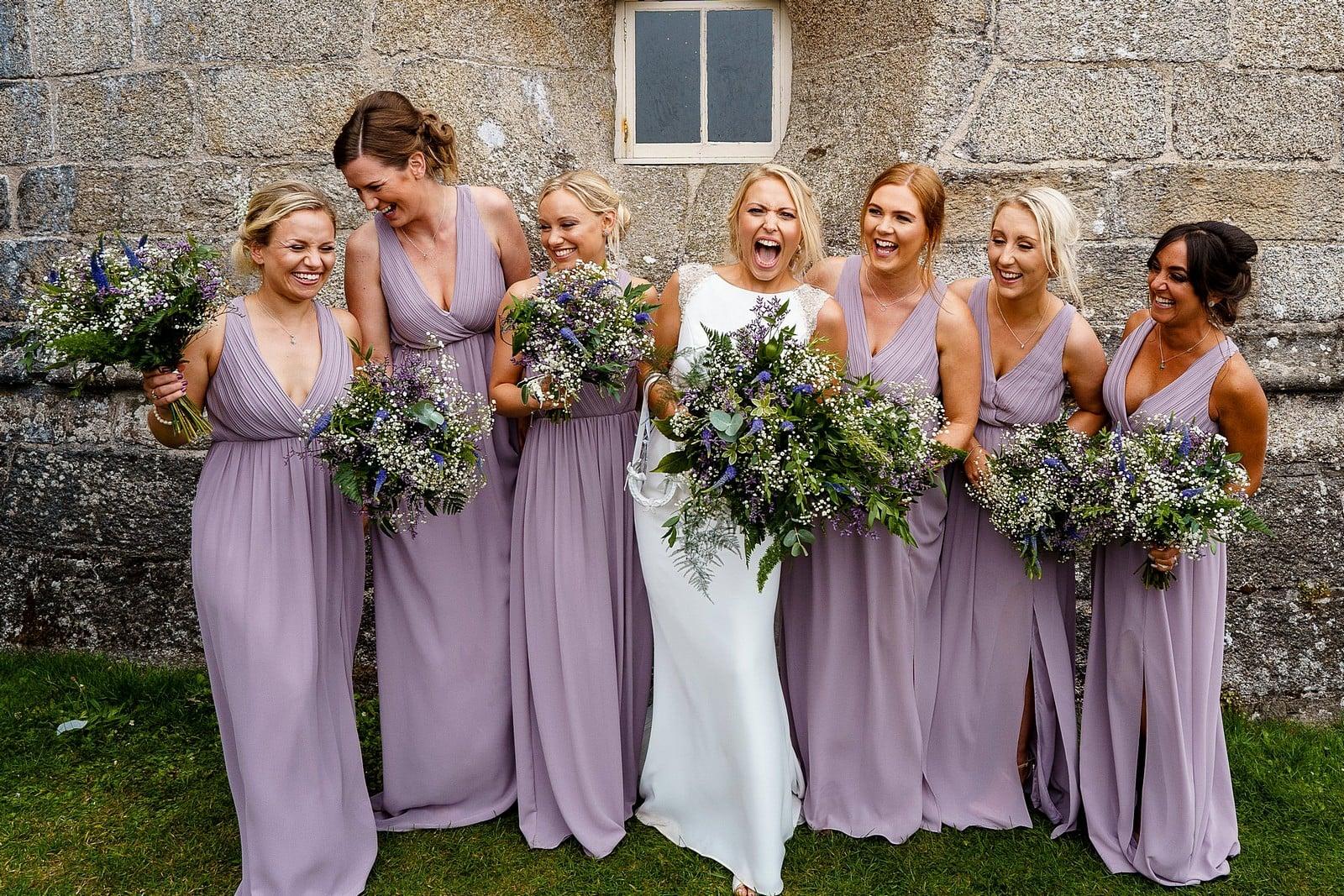 Bride and bridesmaids at Pendennis Castle