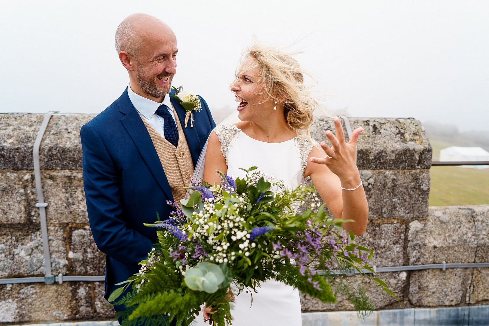 Windy wedding at Pendennis Castle