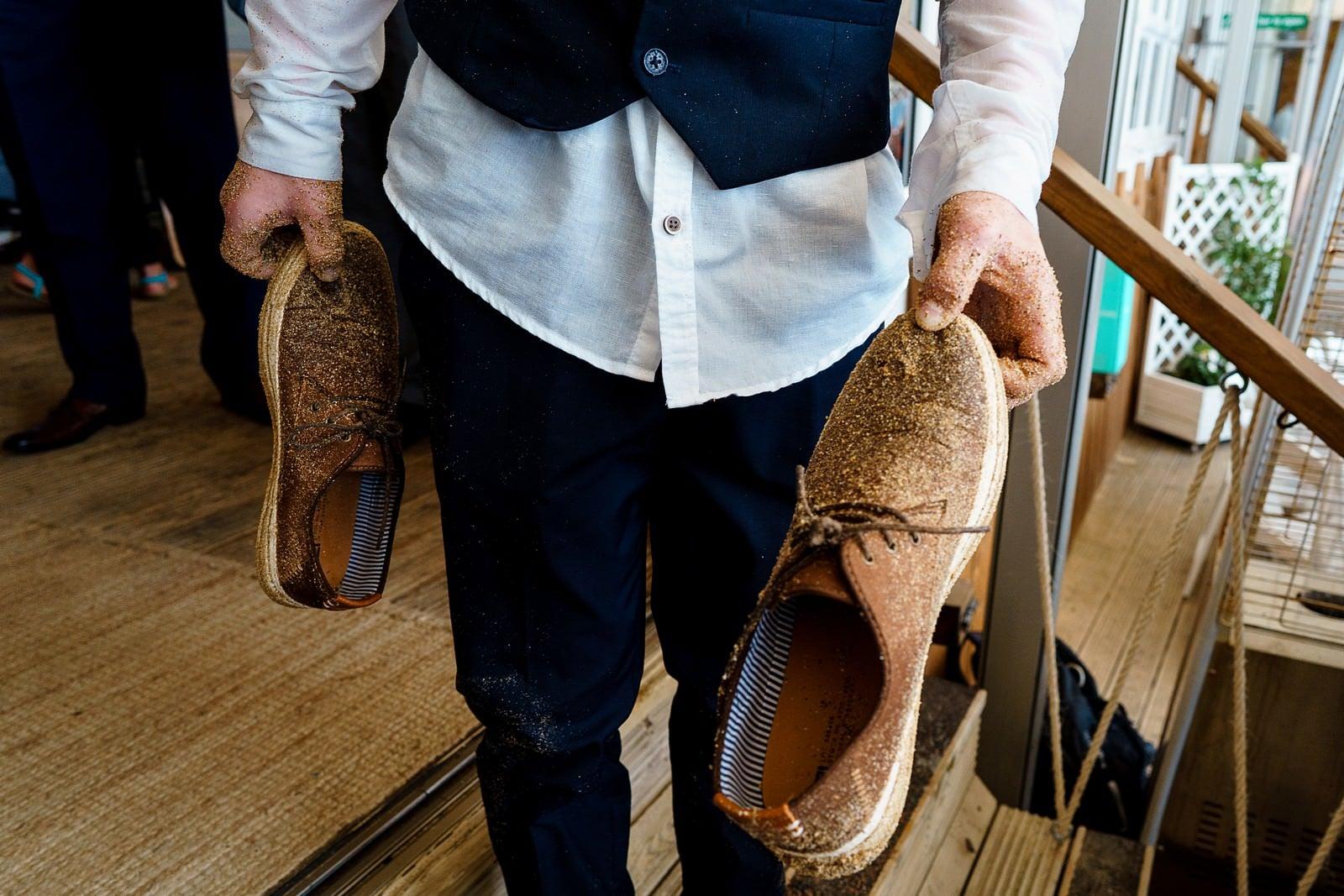 sand shoes at a lusty glaze wedding