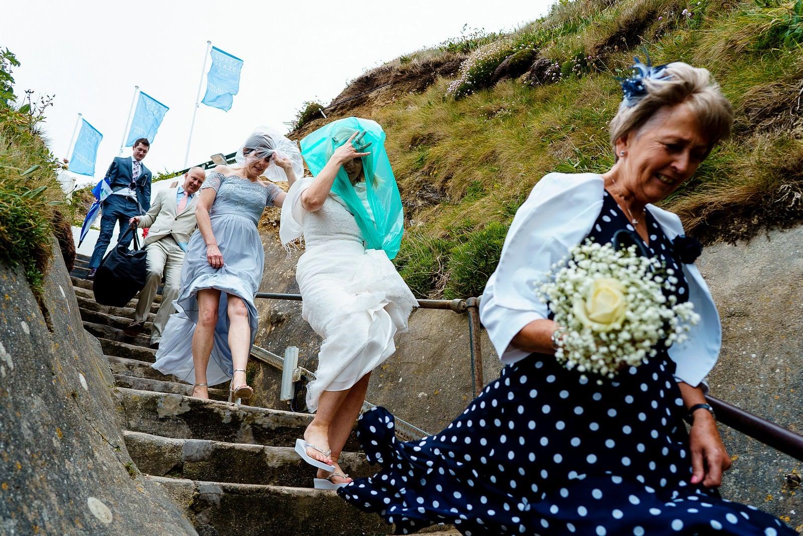 lusty glaze wedding venue steps