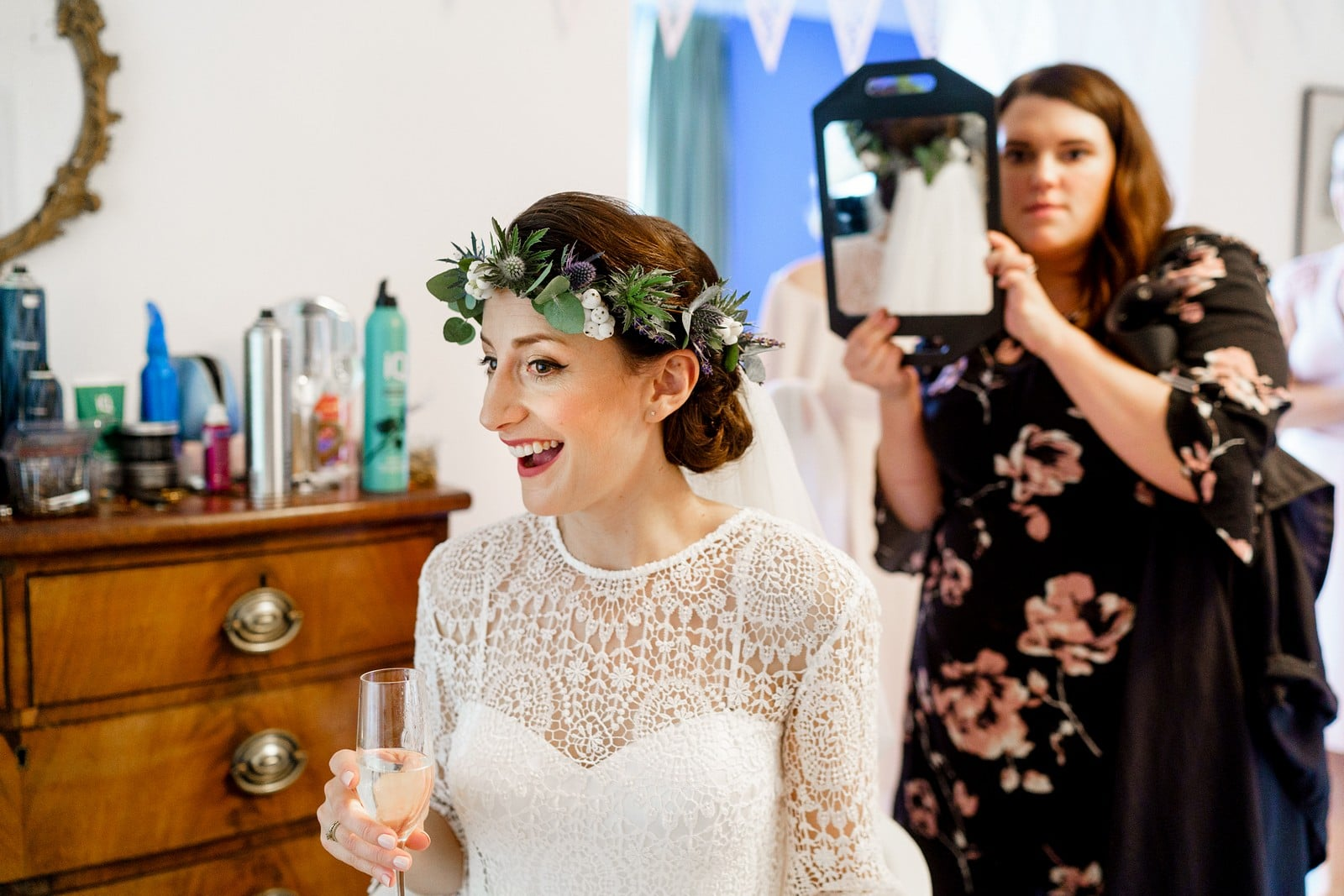 bride getting her hair done at the Rosevine hotel 1
