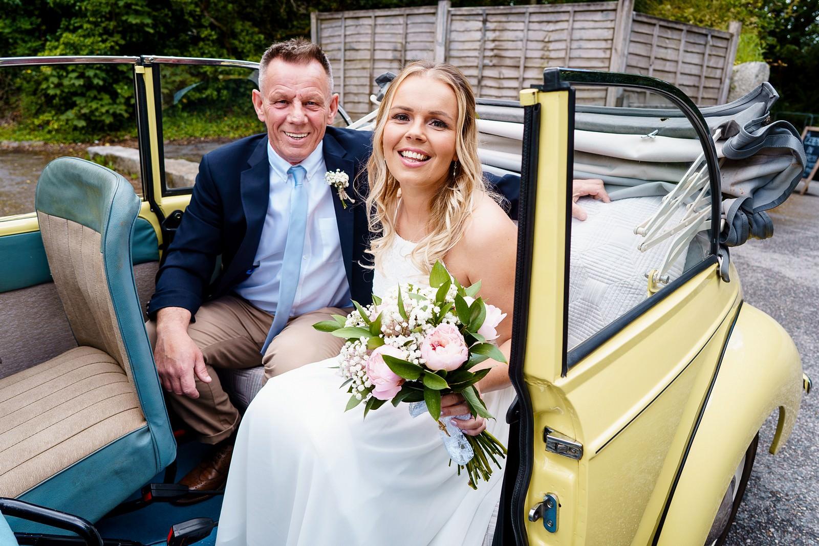 Cornwall wedding car at knightor winery wedding 30