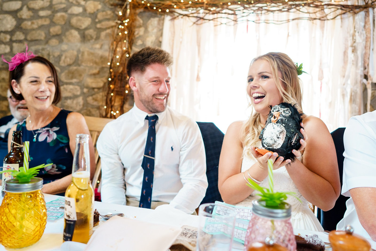 laughing wedding guest at knightor winery 95