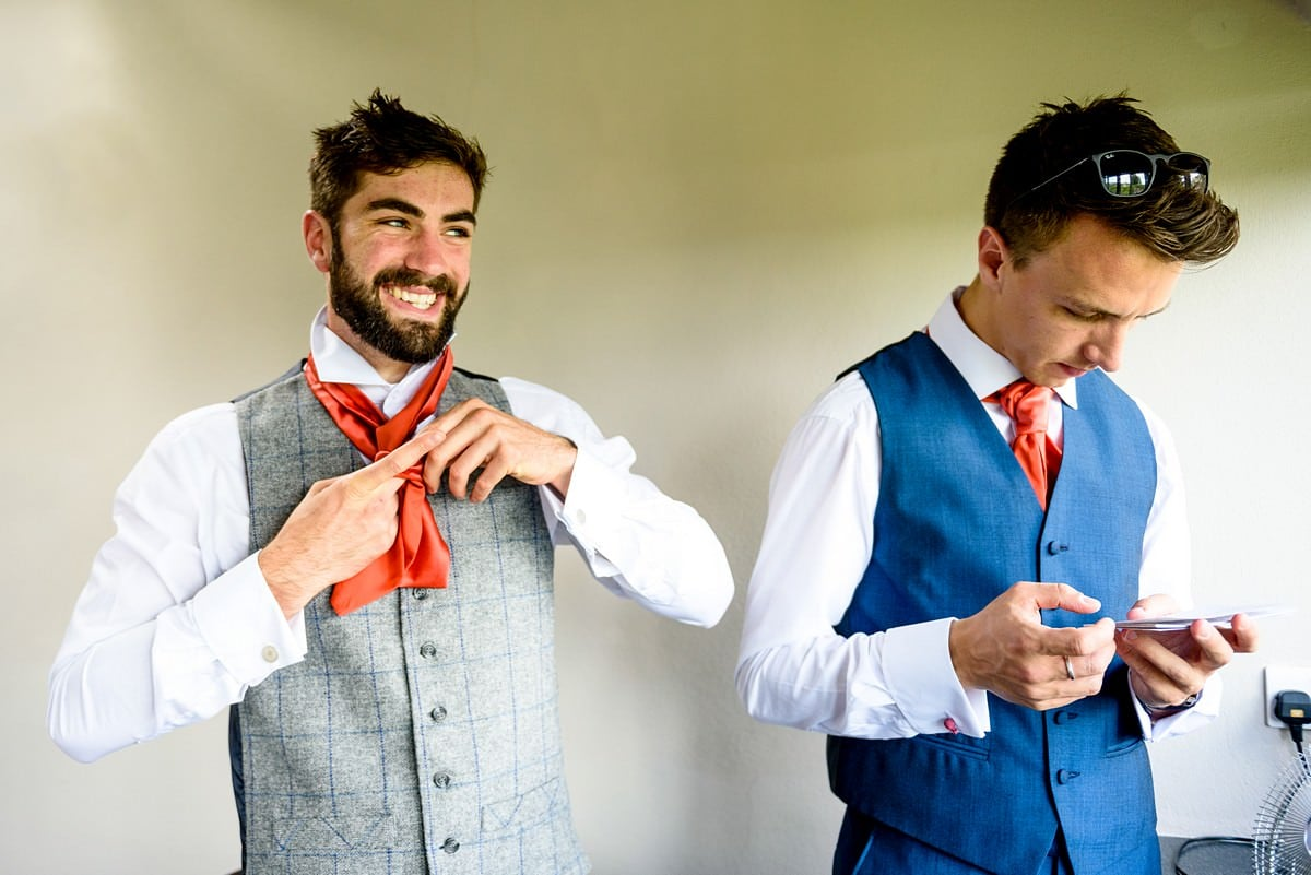 groom getting ready for his wedding at Trevenna Barns