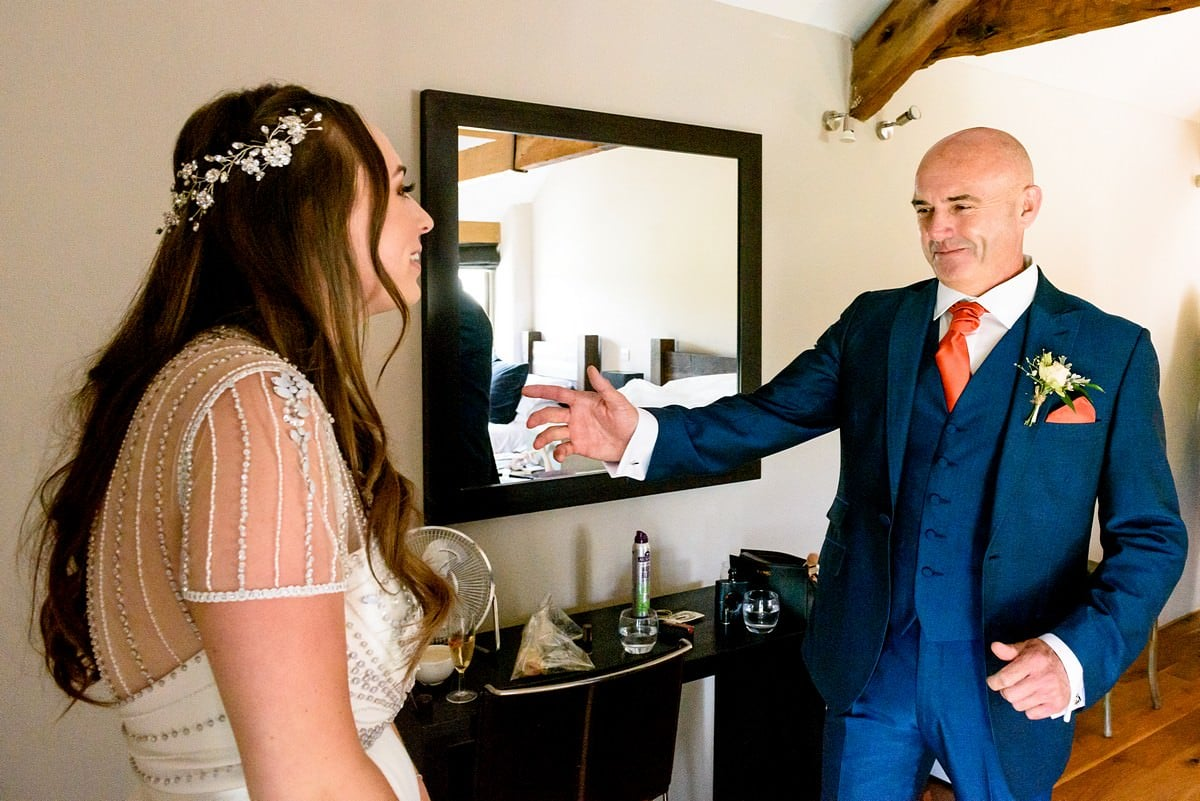 Happy father of the bride at Trevenna Barns.