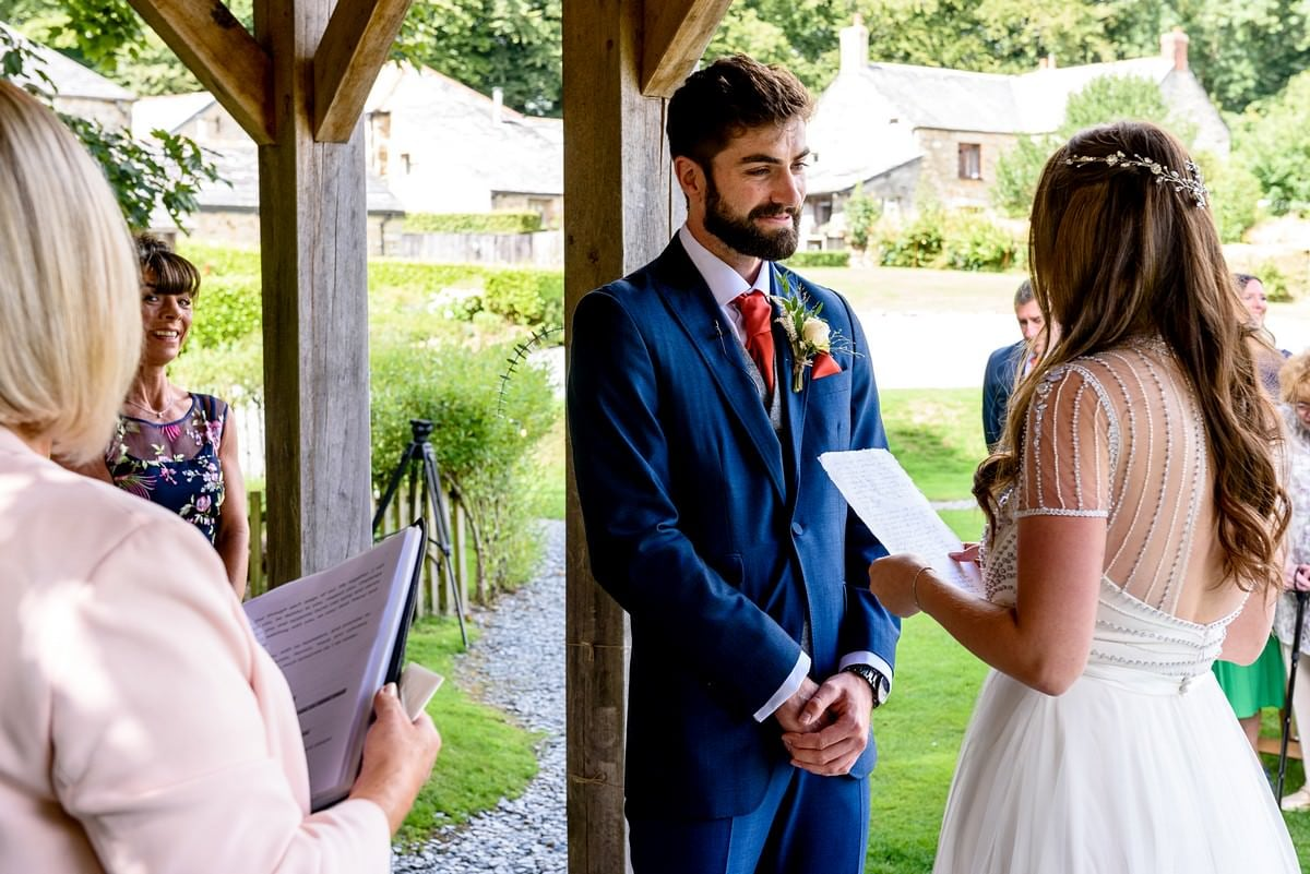 bride saying her vows at trevenna barns