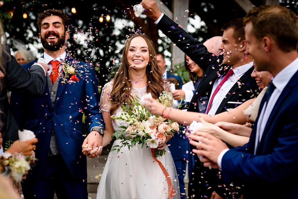 wedding confetti at trevenna barns