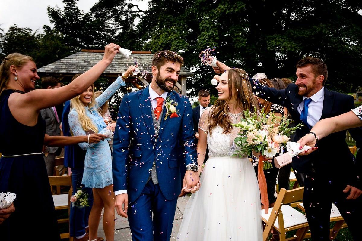 real wedding confetti at a trevenna barns wedding
