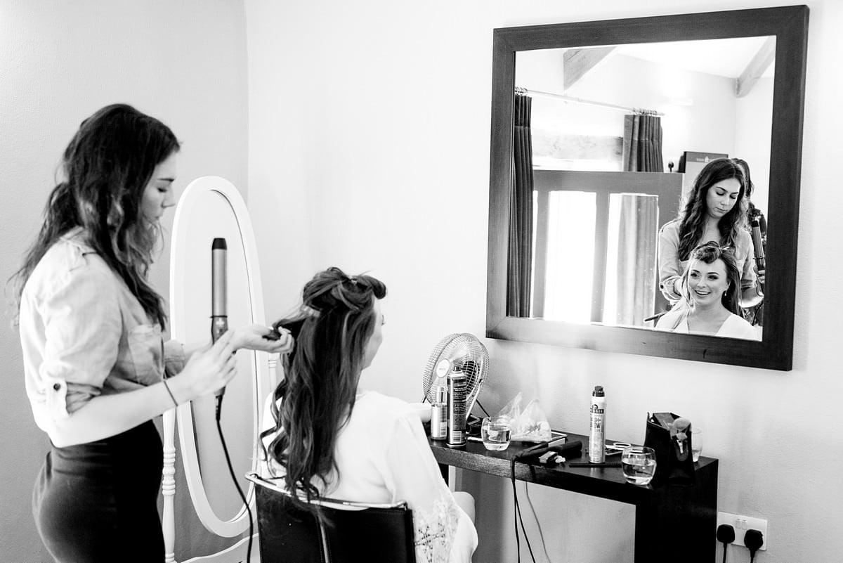 Hair stylist at a trevenna barns wedding