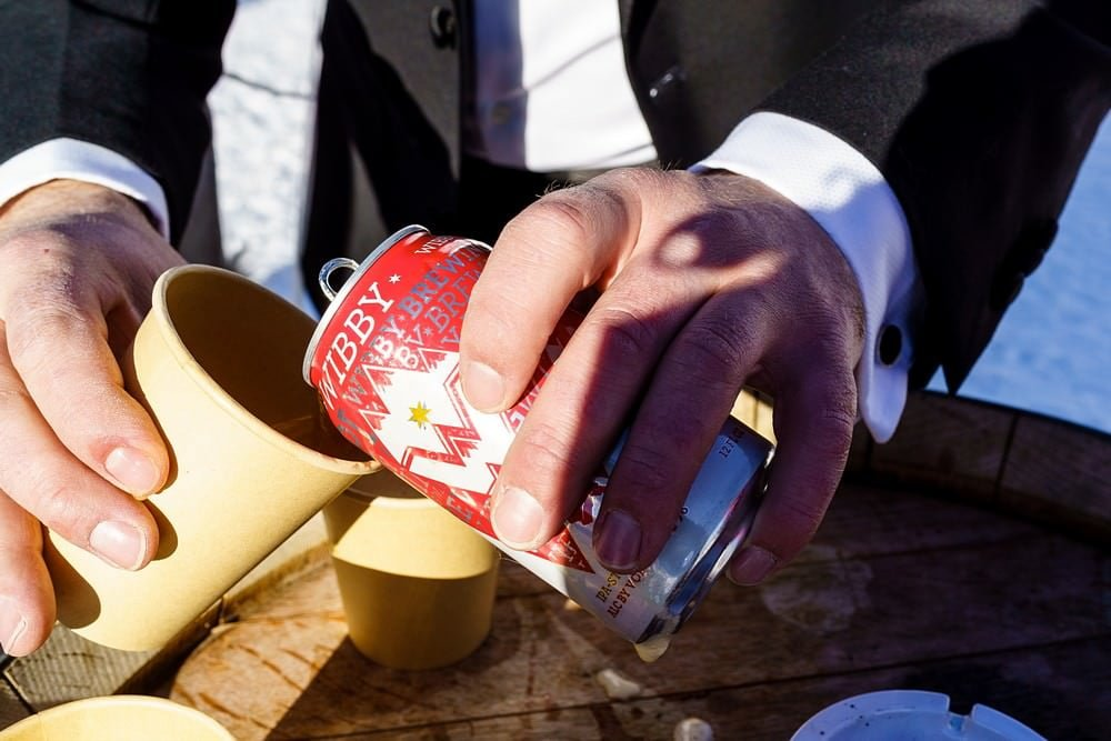 Wibby beer at a Switzerland wedding
