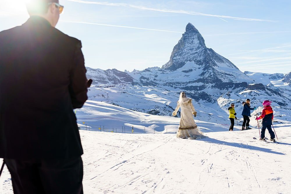 skiing to zermatt on your wedding