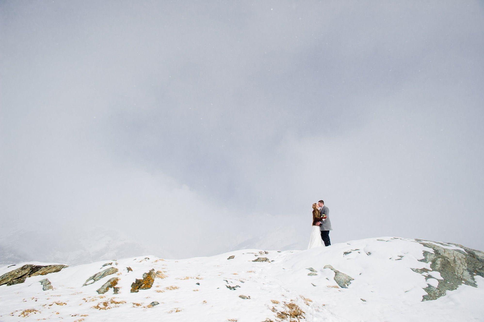 wedding dress and ski boots