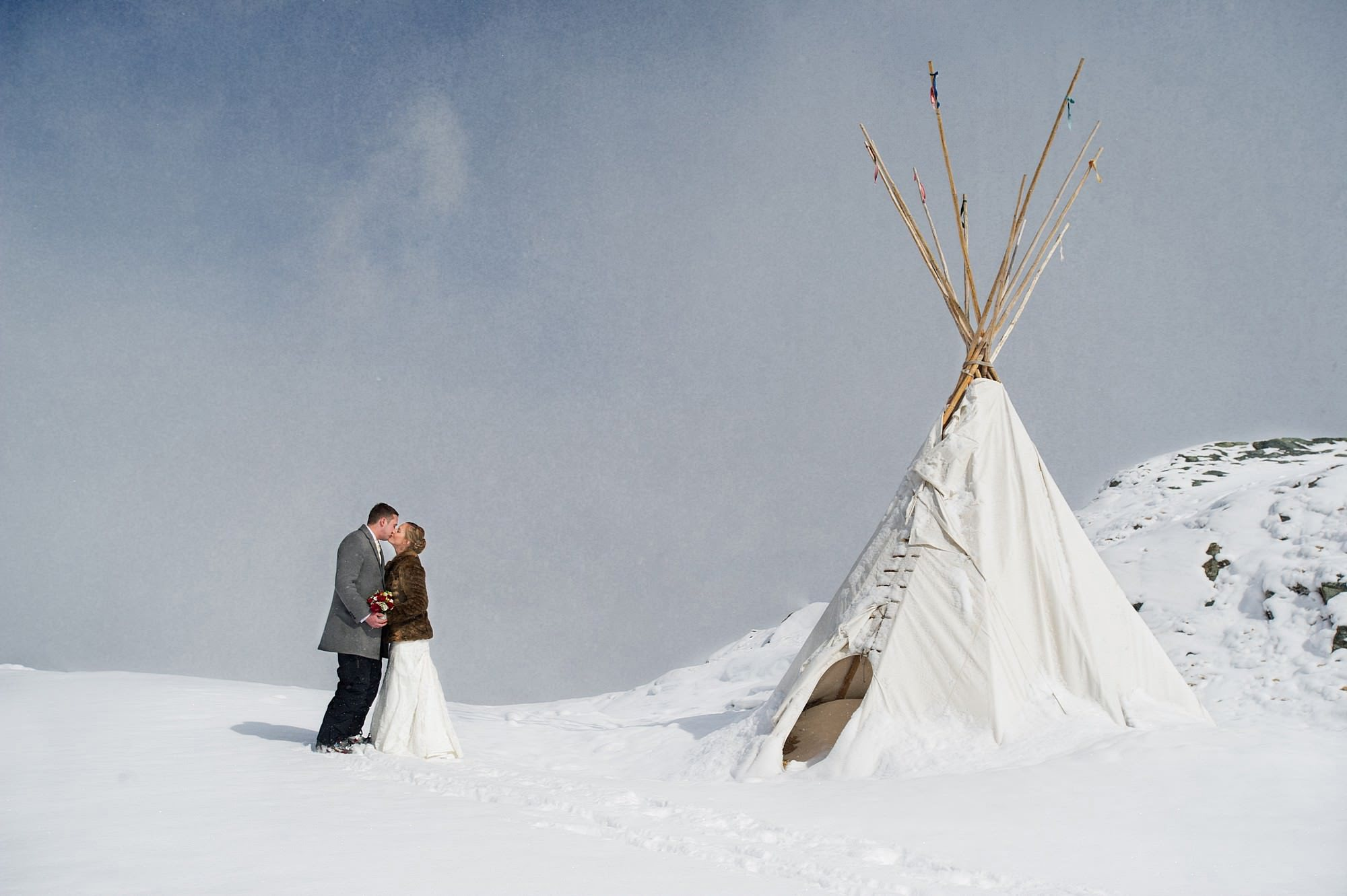 snowy wedding in the alps