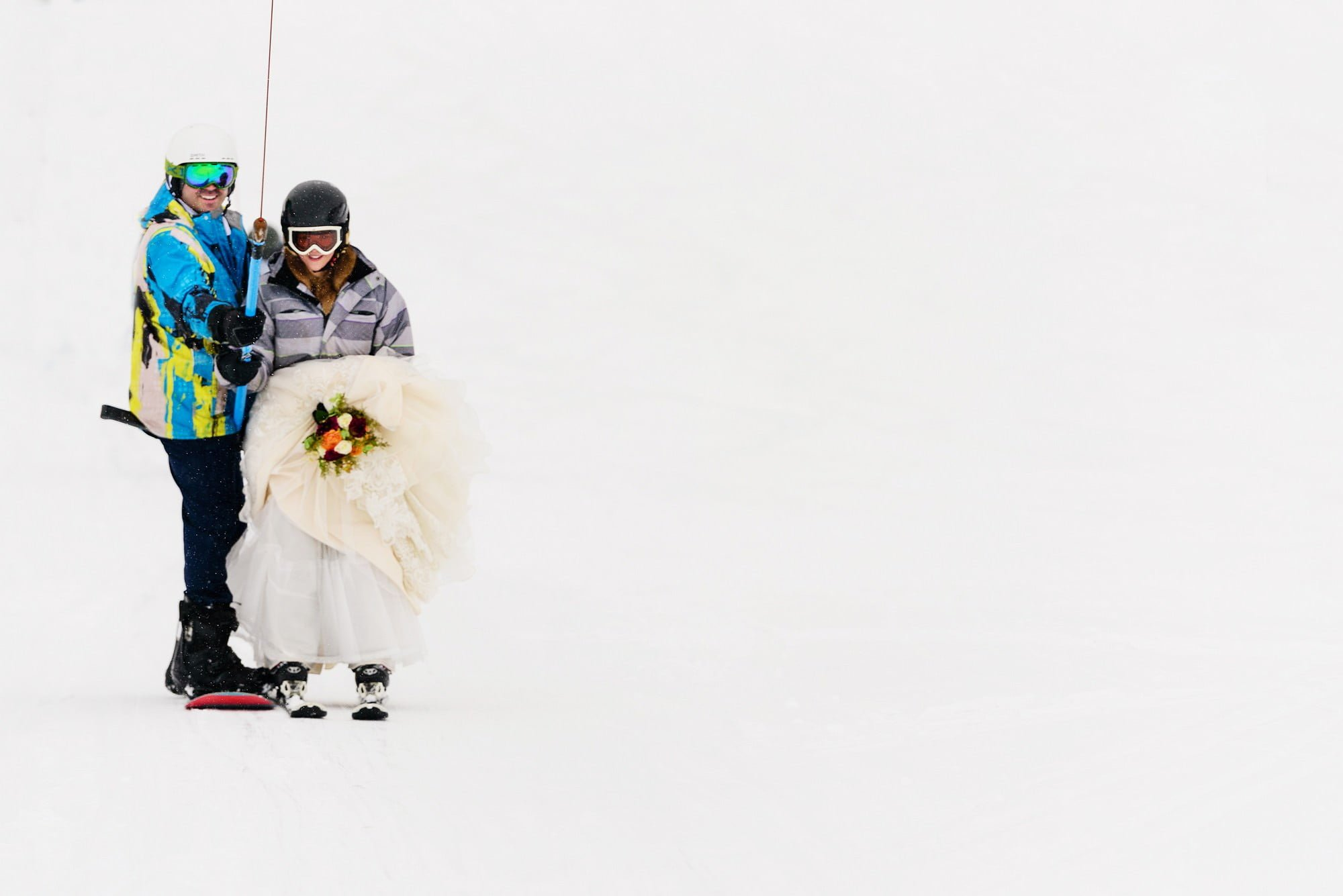 ski lift in a wedding dress