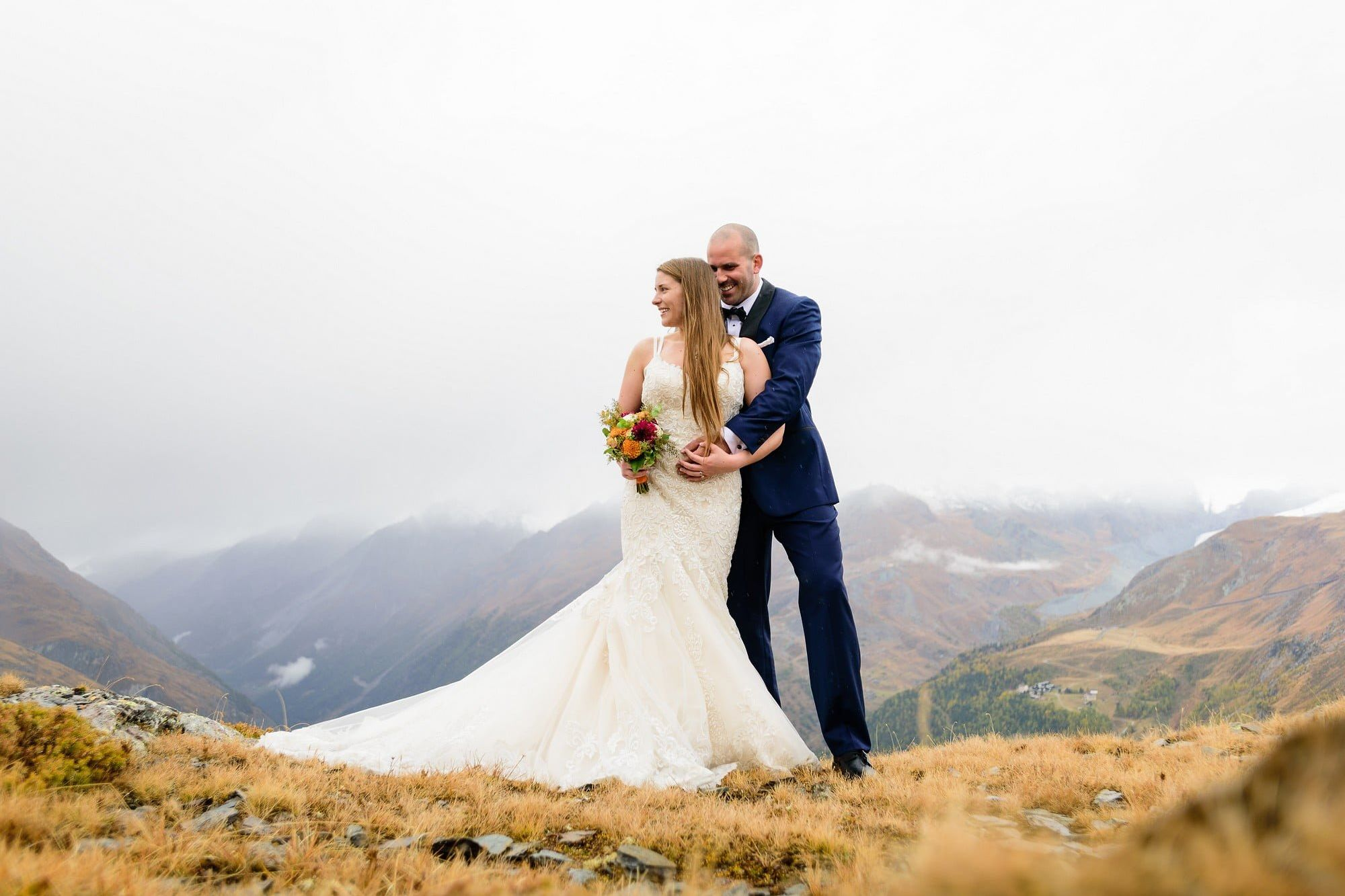 bride and groom getting married in the alps