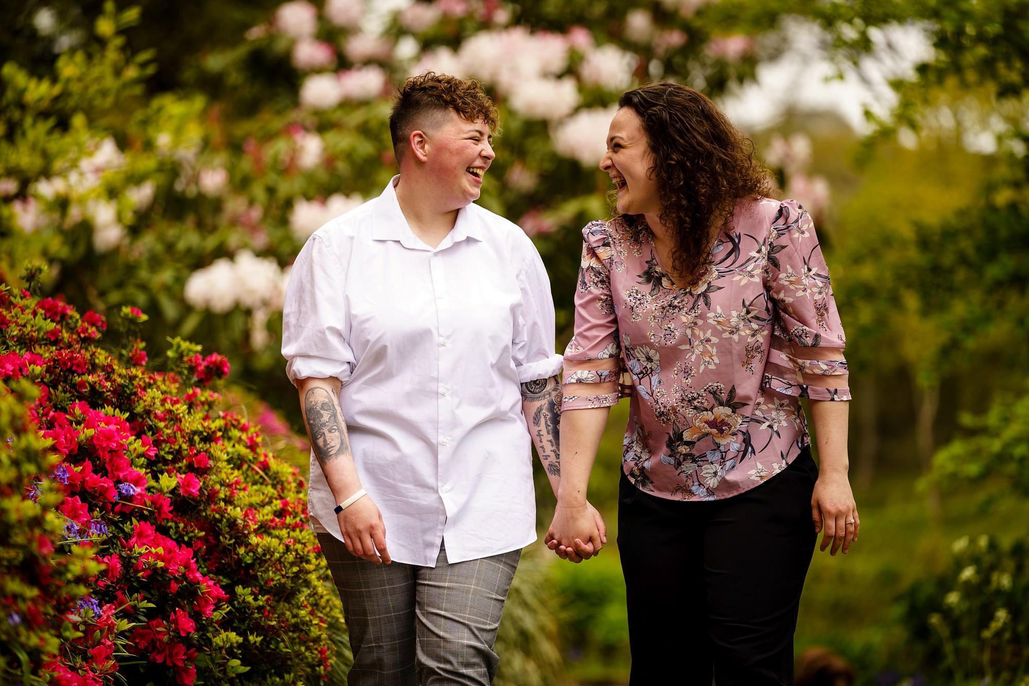 Lesbian wedding proposal at Trebah Gardens