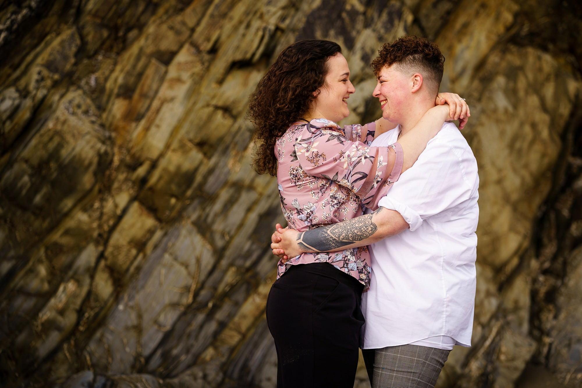 Lesbian wedding proposal in Cornwall